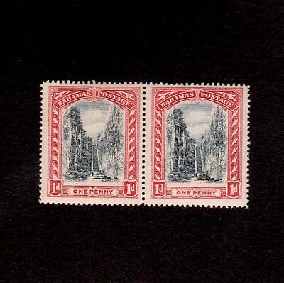 BAHAMAS 1910s ONE PENNY QUEEN'S STAIRCASE UNMOUNTED MINT PAIR OF STAMPS