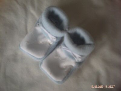 One Pair Of Blue And White Baby Socks/Bootees Size 0-6 Months.