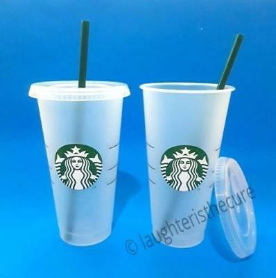 NEW Lot of 2 Starbucks Reusable Frosted Ice Cold Drink Cup 24 oz