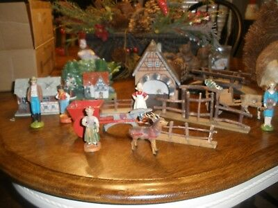 VTG Hand Made & Painted Xmas HOUSE CART GOAT DONKEY West Germany, NATIVE HOLLAND