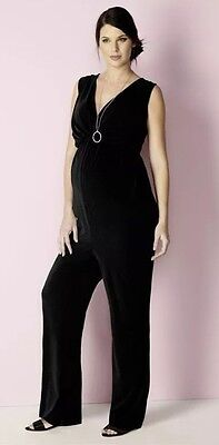 Bnwt🌹Next Maternity🌹Size 8 Black Crepe Stretchy Jumpsuit Evening Daily New £36