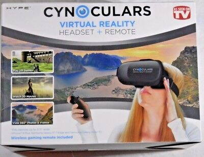 Cynoculars Virtual Reality Headset with wireless gaming remote w/Merge VR cube