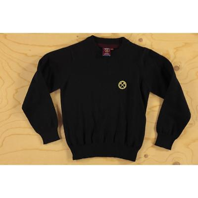 Age 5-6 Kids Cotton Knit West Ham Official Football FC Club Sweater Circle Black