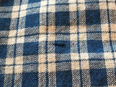 Antique French Indigo Blue Homespun Linen Fabric Plaid Check