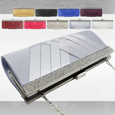 Clutch Purse For Evening Prom Party Sliver Rhinestones Clasp Removable Chain Bag