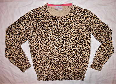 HANNA ANDERSSON Brown Gold Beige Cheetah Print Button-Up Cardigan Sweater SIZE 6