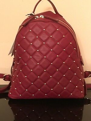NWT Vittoria Napoli Leather Italy Quilted Studded Great Col Martina backpack