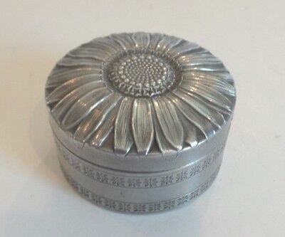 Aluminum Art Deco Face Powder Box, Embossed Sunflower