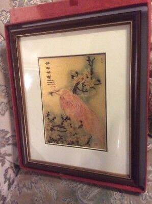 Antique Oriental Chinese Box Framed Feather Picture A Pair of Pheasant Birds