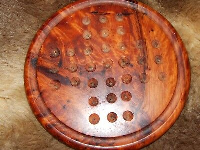 vintage wooden solitaire gaming board 7.5 inches wide