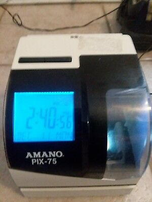 Amano Atomic PIX 75 Electronic Day Date Time Stamp Time Clock