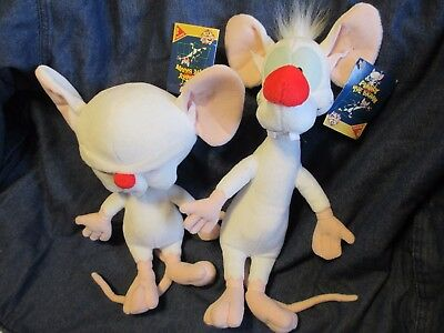 "Animaniacs Pinky 14.5"" The Brain 12"" Plush Toys Dakin 1994 WB Warner Brothers"