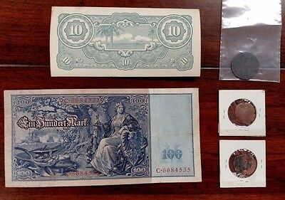 Lot of 5 Antique Vintage Ancient Coins Notes British Germany Japanese Unknown