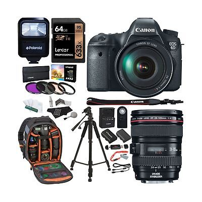 Canon EOS 6D 20.2 MP CMOS Digital SLR Camera with EF24-105mm IS Lens Kit + Le...