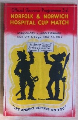 RARE PRE WAR Norwich City v Middlesbrough - N & N Hospital Cup - 4th May 1936