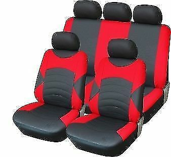 Red Black Leather Look Seat Covers Set For TOYOTA YARIS VERSCO 00-05