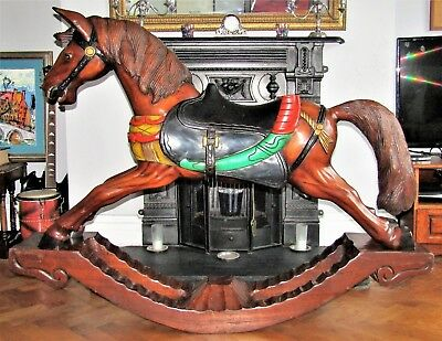 Antique Solid Wood Carousel Horse Rocking Stand Roundabout Carving Display