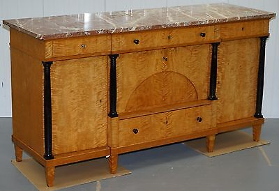Circa 1880 Solid Flamed Satin Birch Swedish Biedermeier Marble Topped Sideboard