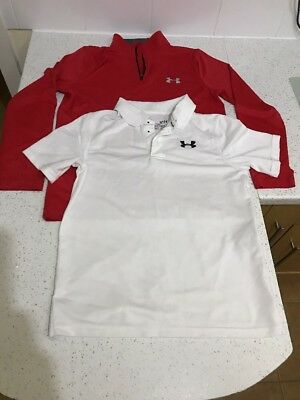 Boys Under Armour Heat Gear Sports Polo Shirts Size Ylg Age 11-12 Years