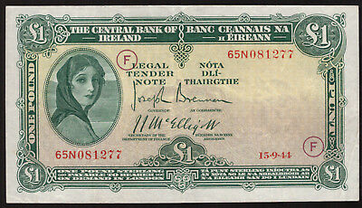 Central Bank of Ireland £1 One Pound Note 1944 war code F. Very Fine