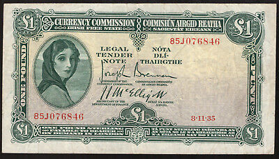 Ireland Currency Commission Irish Free State One Pound Note 1935 GF to About VF