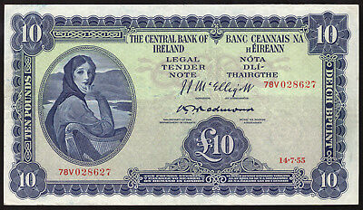Central Bank of Ireland. Lavery Ten Pounds, 1955. Redmond signature. Nice VF