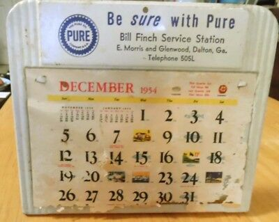 1954 Metal PURE OIL COMPANY advertising calendar, stands or hangs, 5x4.5 inches