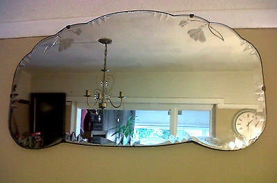 Stunning Large Vtg French Art Deco Bevel Edged Etched Overmantle Mantel Mirror