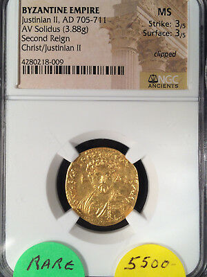 Byzantine Empire Justinian II AV Solidus 2nd Reign Christ on Obv 705 AD NGC MS