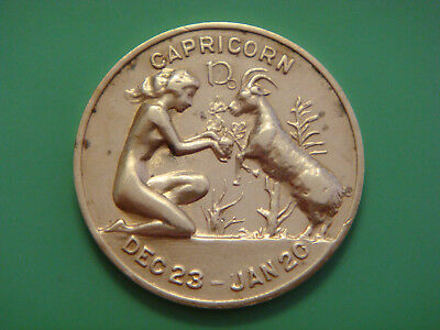 VINTAGE CAPRICORN DEC 23th TO JAN 20rd Lucky Day and Numbers Coin Token Rare