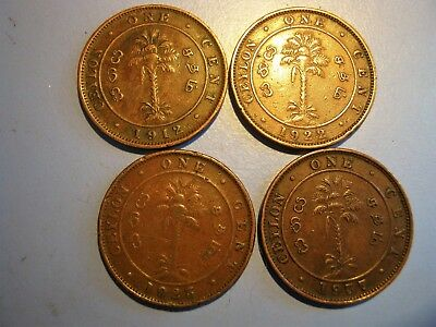 4 Ceylon One Cent Coins. 1912, 22, 23 & 29. Great Condition.