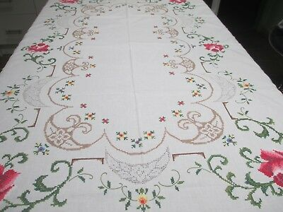 Beautiful Vintage Cross Stitch Embroidery Tablecloth Unused