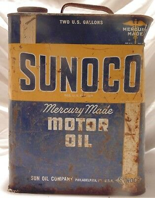 Vintage SUNOCO Mercury Made Motor Oil Gas Station 2 Gal Metal Can Copyright 1946