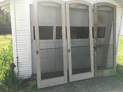 3 Matching Screen Door Lot Vintage Antique Large + Copper Grill Guard + Hardware