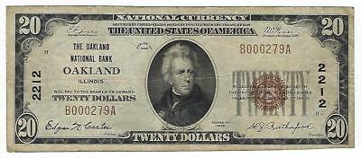 $20 1929 Oakland Illinois National Currency Bank Note Bill Ch. #2212 Type 1