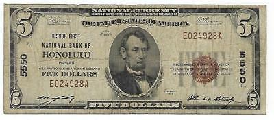 1929 $5 Bishop First National Bank of Honolulu, Hawaii Small Size National