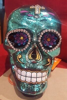 Turquoise Glass LED Light up Sugar Skull - Day of the Dead, Dia de los Muertos