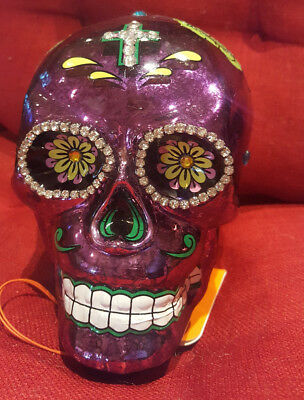 Purple Glass LED Light up Sugar Skull, Day of the Dead, Dia de los Muertos
