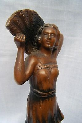 "*C1930s French Art Deco Age Bronzed Spelter Risqué Dancing Girl Figure ""Evening"""