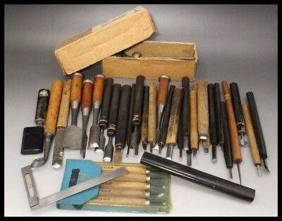 Heirloom Quality, FULL SET (37+), Noh Mask Carving Chisels Japanese/Japan - RARE