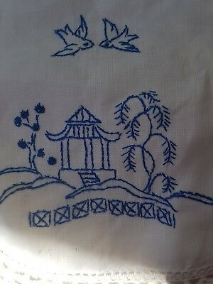 Vintage Japanese Design Blue And White Hand Embroidered And Lace Doily On Linen