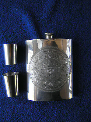 Sterling silver Mexican flask and two shot glasses set 291g