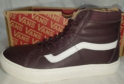 88a7e431b8a41b New Vans SK8 HI Cup Leather Iron Skate Brown White Women Shoe 7.5