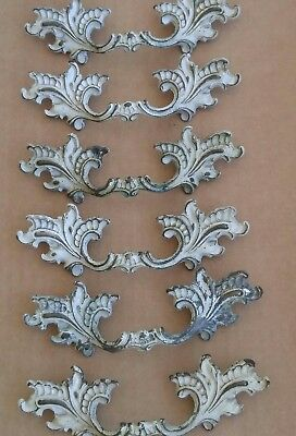 """French Provincial Drawer Pulls 2 1/2"""" Bore CHC C193 Brass White Shabby Ornate"""