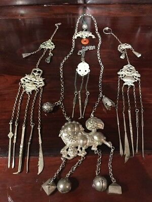 antique chinese jade silver filagree jewelry Qing Ming China Asia