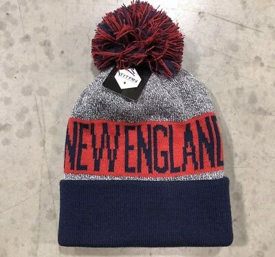 NWT - New England Patriots Team Color Pom pompom Beanie hat cap FREE S/H !!