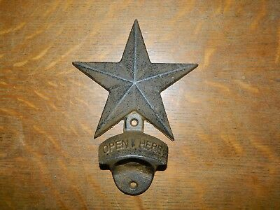 Rustic Large Star Wall Mount Bottle Opener Beer Soda Cast Iron
