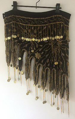 Black and gold coin beaded belly dancing wrap skirt