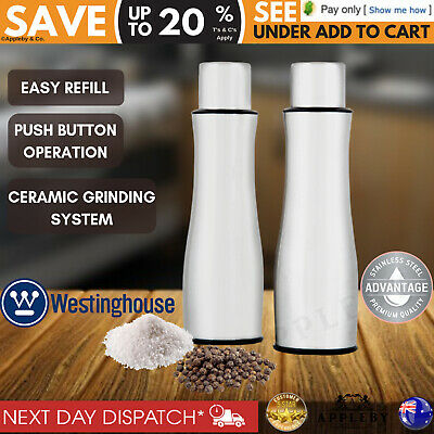 Electric Salt and Pepper Mills Grinders Silver Battery Operated Russell Hobbs