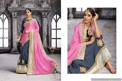 Indian Bollywood Embroidery Lace Designer Pink & Grey Chiffon and Georgette Part